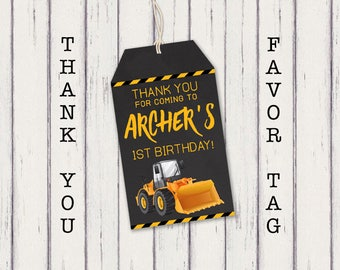 Construction Thank You Tag, Construction Party Favor Tag, Digger Party Decorations, Truck Party Favor Tags, Truck Thank You Tags, Printable