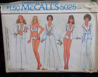 Vintage 1970s McCall's Pattern #5025 Misses Shirt, Swimsuit and Pants Pattern, Bikini Pattern, Size 12 Bust 34 UNCUT