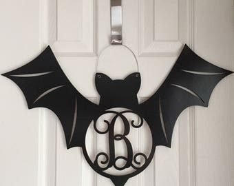 Monogram Bat Door Hanger - Halloween Door Hanger - Black Bat Initial Wreath - Fall Door Hanger - Black Bat Wreath - Halloween Decor