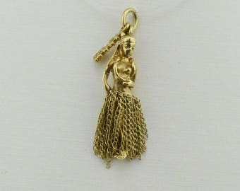 14k Yellow Gold Hawaii/hawaiian Hula Lay Dancer Movable/articulated Grass Skirt Girl/female(01296)