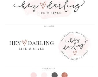 Watercolor & Rose Gold Branding Kit, Photography Logo, Blog Logo, Blog Header, Business Logo, Rose Gold Logo, Watercolor Logo, Branding