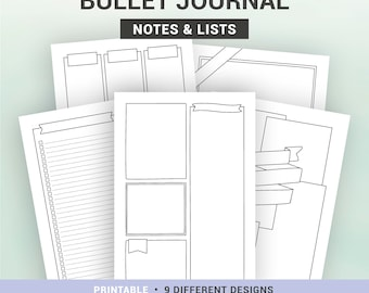 BULLET JOURNAL PAGES - Printable pages - Notes & lists to customize - A5, A4, Us Letter, Half letter