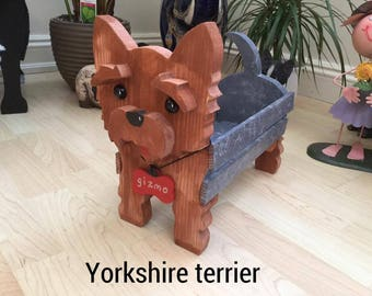YORKSHIRE TERRIER,wooden,dog,planter,garden,ornament,decoration,nametag,
