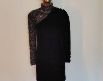 1980s Designer Victor Costa Black Velvet Mini Dress. Sheer Beaded Long Sleeve. Mock Turtleneck. Cocktail. New Year's Eve. Party. Size small.