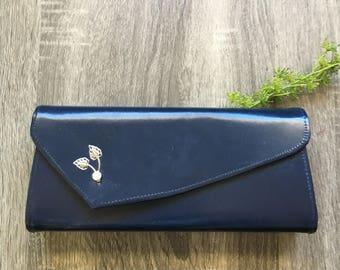 vintage navy blue embellished clutch