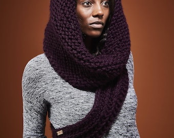 Katniss Cowl with Hood / Huntress Cowl / Knit One Shoulder Scarf / Choose from 12 Colors // Free Shipping Holiday Gifts for Women