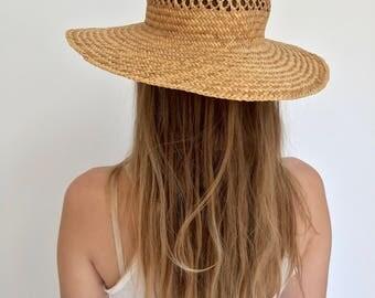 Woven Beach Hat | Simple Straw Beach Hat | Open Weave Farmer Hat | Sun Hat | Summer Straw Hat