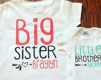 Big Sister Little Brother. Big Brother Little Sister Complete Hospital Set. Coming Home Bodysuit and Shirt. Fully Customizable. Name Shirts.
