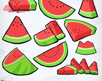 Hand-Drawn Watermelon Slices - Digital Clipart/Graphic