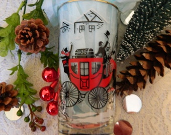 Vintage 1950s Christmas Glasses, Vintage Red Black White Christmas Glasses, Vintage Holiday Glasses, Gold Trim, Stagecoach Horses, Bar Ware
