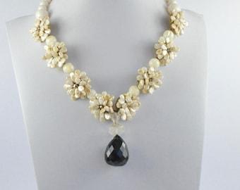 Art Jewelry, Smoky quartz Choker, Bride jewelry, Flower necklace, Mother of Pearl choker, Dainty choker, Bride jewel, Beaded choker, Quartz