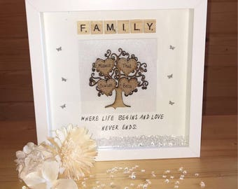 Personalised family tree frame, family tree, gift for all occasions, Family tree frame, family gift, personalised gift, family names