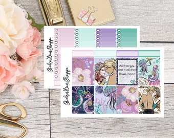 Mermaid Love Weekly Kit Planner Stickers - For Erin Condren Life Planner