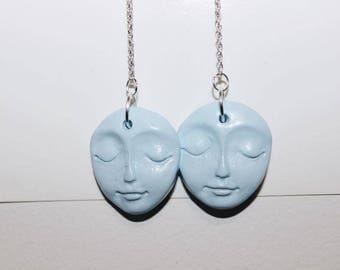 PASTEL BLUE moon face | statement drop earrings | limited edition