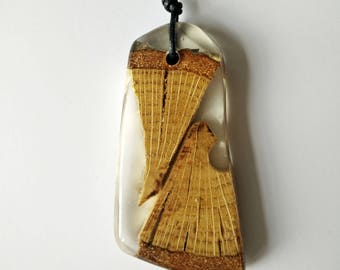 Wood Resin Pendant,Made in Italy, Handmade Necklace, Ghost Wood, Unique piece, Wood resin jewelry, Handmade Jewelry