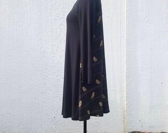 Owl dress, Owl jersey dress, short sleeve dress, swing dress, casual dress, black jersey dress, upcycled dress, black tent dress
