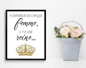 "Poster ""Inside every woman there is a Queen"" printed on white cardstock of size 8 ""x 10"", motivation, Crown, gold"