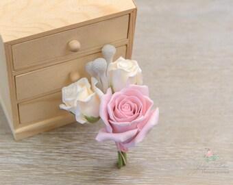 Bridal accessories, wedding boutonniere, corsage, boutonniere, clay boutonniere, buttonhole
