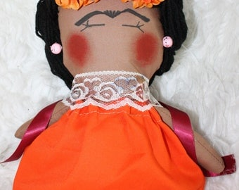 Frida doll, ethnic doll, cloth doll, muñeca frida