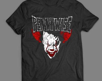 Stephen King's IT PennyWise MashUp Horror Movie Funny Custom Design OldSkool Artwork Quality Shirt S-XXXXL