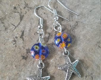 Starfish Silver Tone Drop Earrings