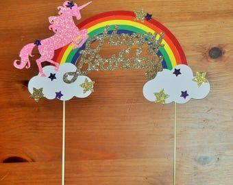 Unicorn Cake Topper | Rainbow Unicorn Cake Topper | Unicorn Party | Rainbow Brite Birthday
