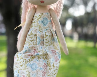 Textile doll, Handmade doll,Nursery doll,Rag doll, Tilda doll, Fabric doll, Interior doll, Pink hair, Gift for girls