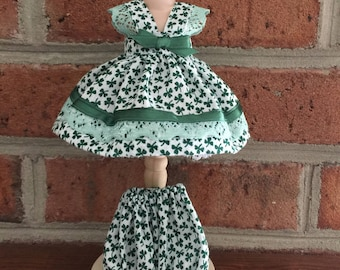 """St. Patrick Dress White Green Clover for Vintage Ginny, Muffie and Similiar 8"""" Dolls"""