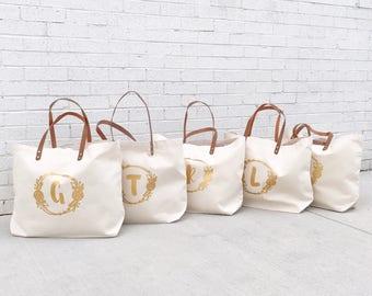 Monogrammed Bridesmaid Tote | Bridal Party Tote | Set of Bridesmaid Tote Bags | Large Bridesmaid Bag