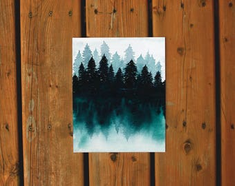Wall Art Watercolor Print | Teal Treeline Forest Print | Northern Tree Watercolor Painting | Original Watercolor Tree Lake Landscape