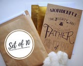 Scripture Christmas Cards WIth Envelopes/Isaiah 9:6/Hand Lettered/Gold