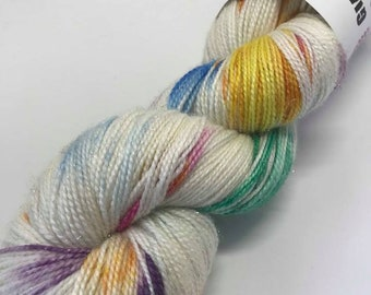 Hand Dyed Yarn Oddball Rainbow Flecks Sparkle 100g Hank Approx 400m Sock 4Ply Fingering 75% Superwash Merino Mulesing Free