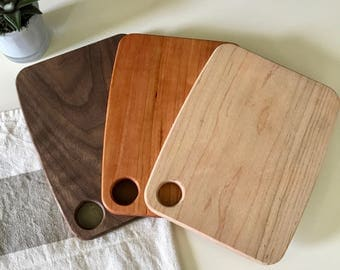 Maple Cherry Walnut Wood Mini Serving Bar Cheese Cutting Boards - Set of 3