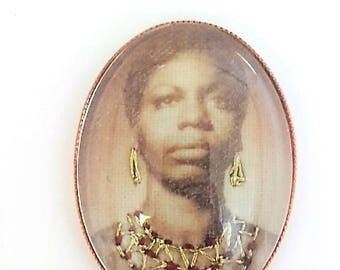 Nina Simone hand embroidered brooch
