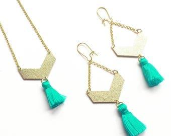 Earrings in Golden brass chevron geometric turquoise blue silk Pompon