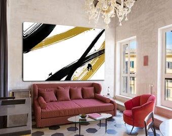 Living Room Decor, Extra Large Wall Art, Palette Knife, Art Painting, Black