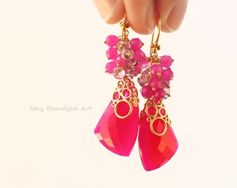 Hot Pink Chalcedony With Fuchsia Jade and Pink Amethyst Gold Vermeil Earrings Cluster Earrings Summer Gemstone Jewelry