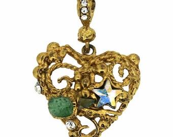 Christian Lacroix 1990s Aurora Borealis Rhinestone Detailed Vintage Heart Pendant