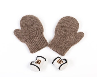 Premium quality yak down mittens for kids - earth