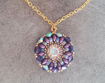 Necklace, kitten Swarovski Crystal, faceted and 24K gold plated Miyuki beads and purple