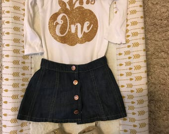 Fall First Birthday Onsie with Bib or Fall Themed Onsie