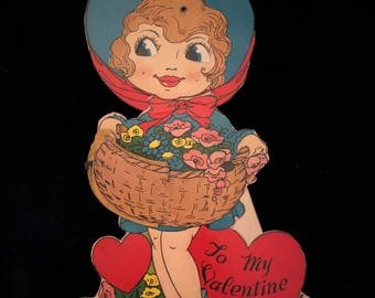 1920's Valentine Girl With Basket Honeycomb Mechanical