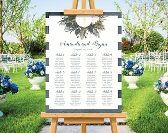 Rustic wedding seating chart, seating plan, bohemian wedding, watercolor design, navy blue, personalize wedding signs