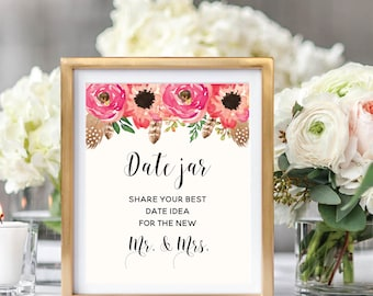 Date Night Ideas Jar Sign, Floral Wedding Sign Printable, Watercolor Boho Chic, Instant Download, #BC001