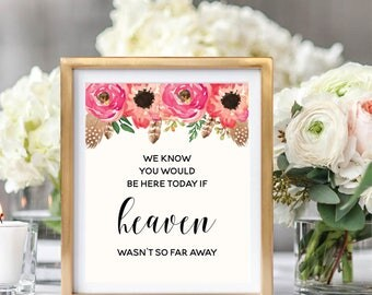 In Loving Memory Sign, Memorial Sign, Floral Wedding Sign Printable, Watercolor Boho Chic, Instant Download, #BC001