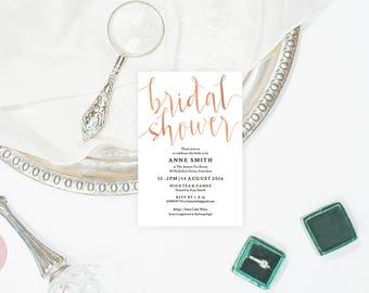Rose gold bridal shower invite, Bridal shower invitation rose gold, Bridal shower invitation pink, Blush bridal shower invitation template