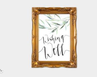 Eucalyptus wedding decor, Eucalyptus wedding sign, Greenery wedding sign, wishing well sign printable, Botanical wedding sign