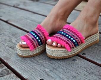 "Bohemian Sandals ""Nerine"", Greek leather sandals, Wedges, Flatforms, espadrilles, fringes, fuchsia sandals, handmade sandals, platforms"
