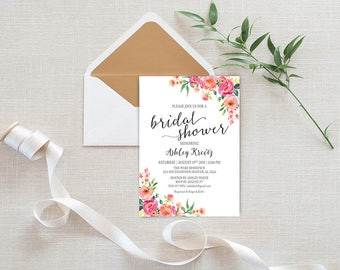 Watercolor Bridal Shower invitation, Bridal shower invitation, Rustic bridal shower invitation, Floral Bridal Shower - US_BI1813
