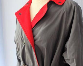 80s trenchcoat true vintage L Coat grey red retro West Detective Inspector agent